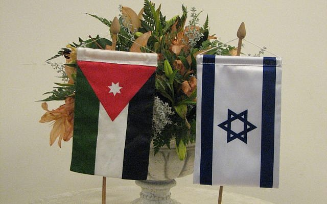 The flags of Israel and Jordan (photo credit: courtesy/Assaf David)