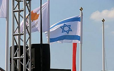 The Israeli flag at the Olympic village (photo credit: courtesy of Israel Olympic Committee)