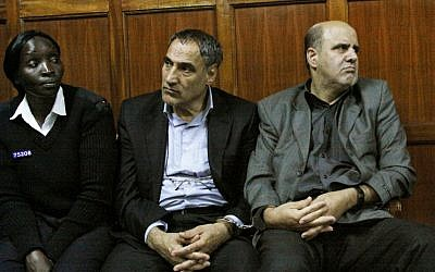 Iranian nationals Sayed Mansour Mousavi, center, and Ahmad Abolfathi Mohammad, right, in the Nairobi magistrates court in Nairobi, Kenya, where they faced charges related to the possession of explosives. (photo credit: AP/Khalil Senosi, File)