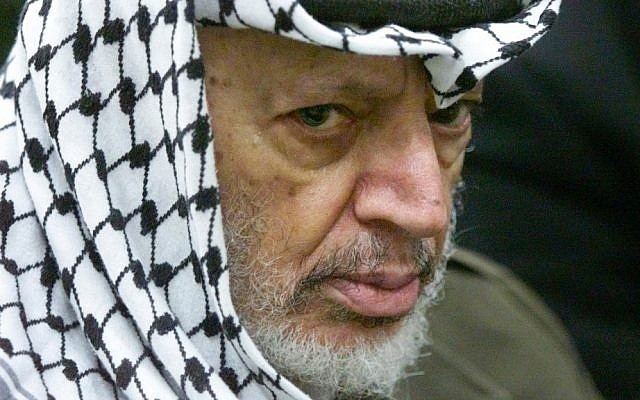 Yasser Arafat in 2002 (photo credit: AP Photo/Lefteris Pitarakis)