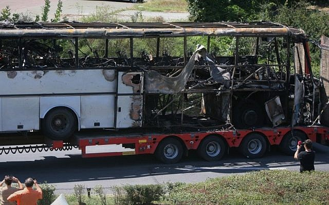 The bus that was blown up in a July 2012 terrorist attack on Israeli tourists in Burgas, Bulgaria (photo credit: AP/Impact Press Group)