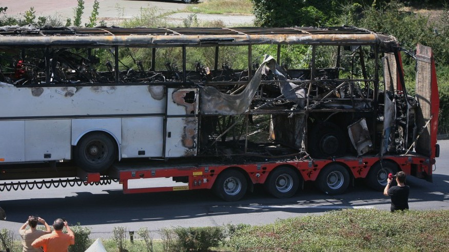 The bus that was blown up in a July 2012 terrorist attack on Israeli  tourists in