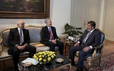 Mohammed Morsi meets with US Undersecretary of State William Burns in Cairo Sunday (photo credit: AP Photo/Maya Alleruzzo)