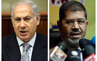 Prime Minister Benjamin Netanyahu and Egyptian President Mohammed Morsi (photo credit: AP/Gali Tibbon, Nasser Nasser)