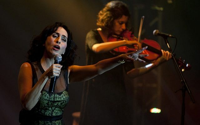 Rita, an Israeli singer of Iranian descent, performs in Ashdod in June 2012 (photo credit: AP Photo/Ariel Schalit)