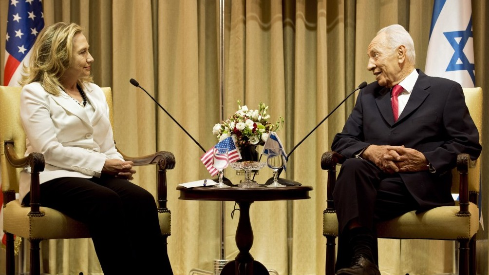 President Shimon Peres And US Secretary Of State Hillary Clinton Meet At  The Presidentu0027s Residence In