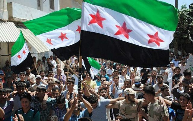 Syrian opposition protesters in Idlib, June 29 (photo credit: AP photo)