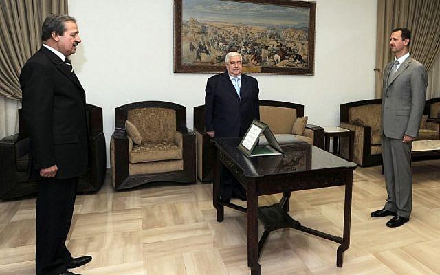 Syrian ambassador to Iraq Nawwaf Fares sworn in, 2008 (photo credit: AP Photo/SANA)
