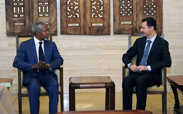 Kofi Annan, left, meeting with Syrian President Bashar Assad in Damascus earlier this month. (photo credit: AP/SANA)