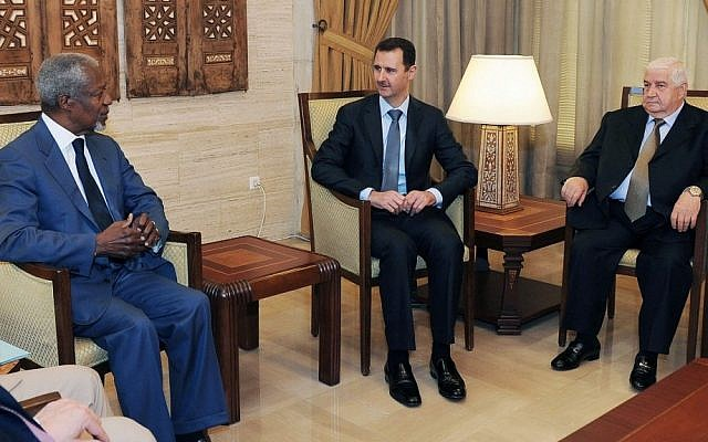Former UN chief Kofi Annan, left, Syrian President Bashar Assad, center, and Syrian Foreign Minister Walid Muallem meeting in Damascus in July (photo credit: AP/SANA)