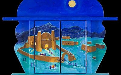 A Nicho by Anita Rodriguez with the doors closed, showing a Christmas scene. (photo credit: Anita Rodriguez/JTA)