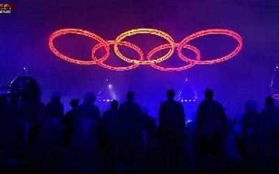 The fiery rings of the Olympics during the opening ceremony on Friday July 27 (image capture Channel1)