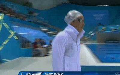 Amit Ivri at the 200 meter medley semifinals in London 2012 (photo credit: screen capture from iba.org.il)