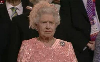Queen Elizabeth II arrives at the opening ceremony of the London Olympics (image capture Channel1)