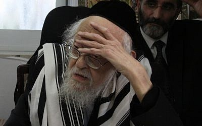 Rabbi Yosef Shalom Elyashiv (Yosef Avi Yair Angel/ Flash90/JTA)
