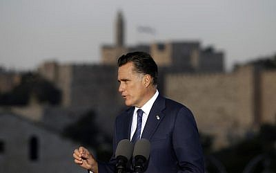 Republican presidential nominee Mitt Romney delivers a speech in Jerusalem in July (photo credit: AP/Charles Dharapak)