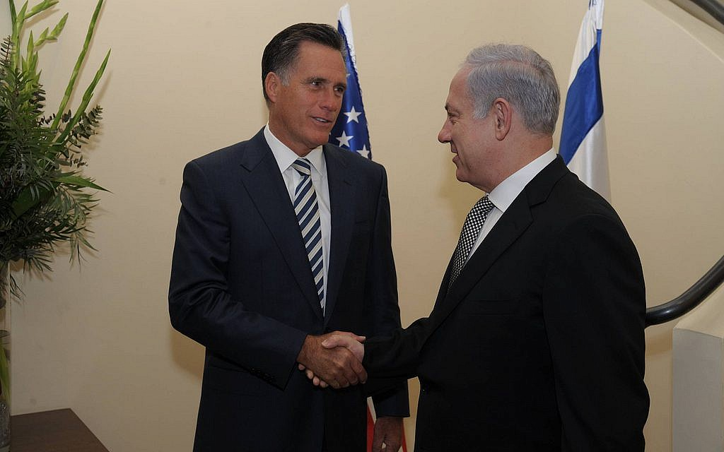 Republican presidential candidate Mitt Romney meets with Prime Minister Benjamin Netanyahu in Jerusalem, January 13, 2011. (photo credit: Amos Ben Gershom/GPO/JTA)