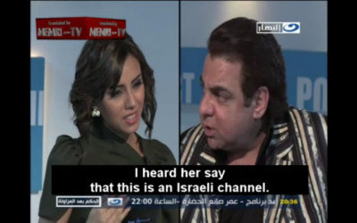 Interviewer Iman Mubarak and guest Ayman Kandeel (photo credit: MEMRI screenshot)