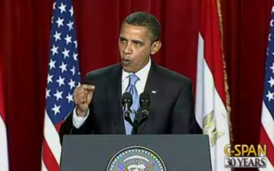 US President Barack Obama speaks in Cairo on June 4, 2009. (photo credit: screen capture, YouTube)
