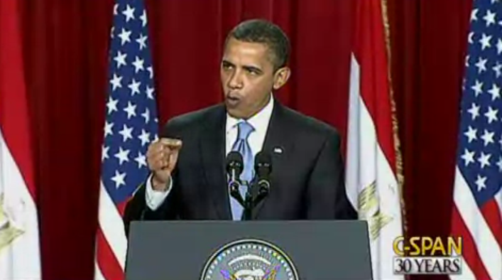 US President Obama delivering his famed Cairo Speech in 2009. The president highlighted the need for social progress in his first major address to the Muslim world. (photo credit: screen capture, YouTube)