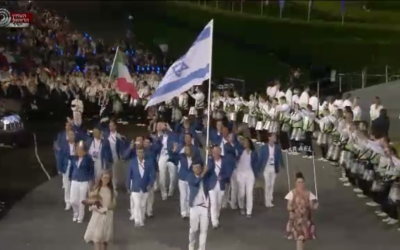 The Israeli national team marching in the Olympic opening ceremony Friday night. (photo credit: Image capture from Channel 1)