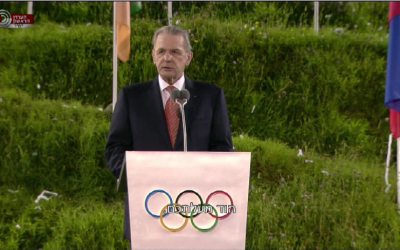 Jacques Rogge speaks at the opening ceremony. (photo credit: Channel 1 screenshot)