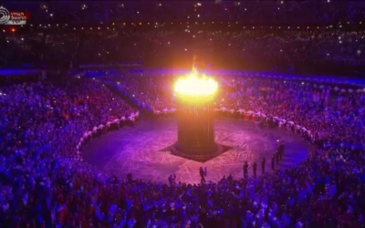 The Olympic flame at the 2012 London Olympic Games. (photo credit: Image capture from Channel 1)