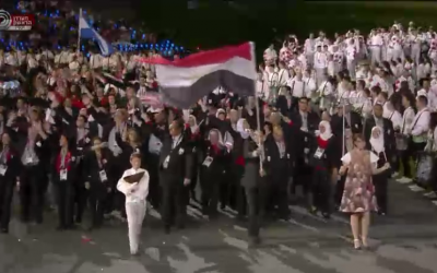 Egypt's national team marching at the Olympic opening ceremony on Friday night. (photo credit: Image capture from Channel 1)