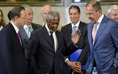 Russian Foreign Minister Sergey Lavrov (right) speaks with UN Special Envoy Kofi Annan (center) and UN Secretary General Ban Ki-moon (left) in Geneva, June 2012 (photo credit: AP/Keystone, Martial Trezzini)
