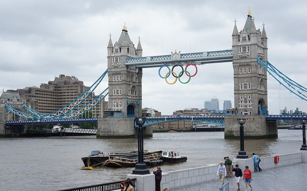 The Tower Bridge in London, decorated with the five Olympic rings in preparation for the 2012 Summer Games, June 2012. (photo credit: Iain Farrell via CC/JTA)