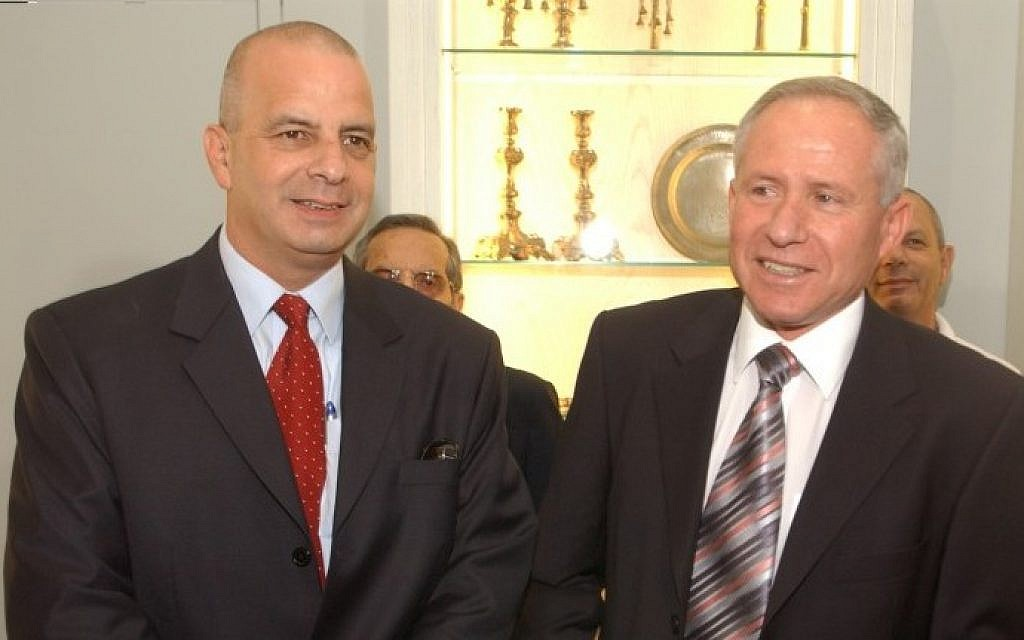 """Shin Bet chiefs Yuval Diskin (left) and Avi Dichter, in 2005. Both are featured in """"The Gatekeepers."""" (photo credit: Flash90)"""