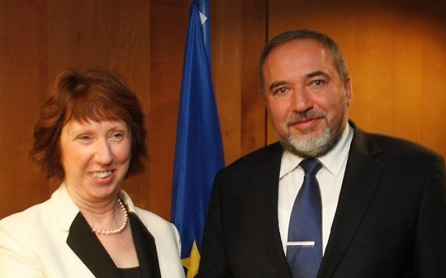 EU foreign policy chief Catherine Ashton and Foreign Minister Avigdor Liberman (photo credit: Gaby Farkas)