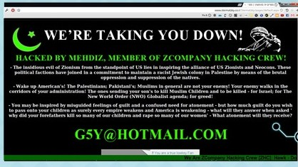 "A ""before"" version of a hacked web site (Photo credit: Courtesy)"