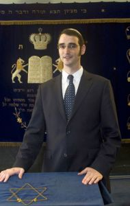 Rabbi Jaron Engelmayer in the Roonstrasse synagogue in Cologne (photo credit: courtest sgk.de)