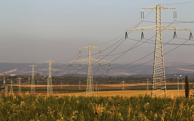 Illustrative photo of power lines carrying electricity (Nati Shohat/Flash90, File)