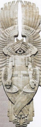 A 77-stone bas-relief Seraph, on the YMCA tower, representing the prophet Isaiah's vision: 'Each had six wings; with two he covered his face; and with two he covered his feet; and with two he did fly.'
