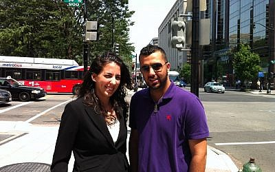 Israeli intern Or Amir and Palestinian intern Waleed Issa in Washington, DC (photo credit: Courtesy Ari Ben Goldberg)