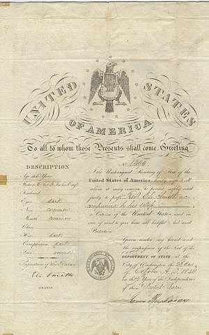 A passport for Reverend Eli Smith and his wife, handwritten by Secretary of State and future President James Buchanan (Photo credit: Courtesy: National Library of Israel)