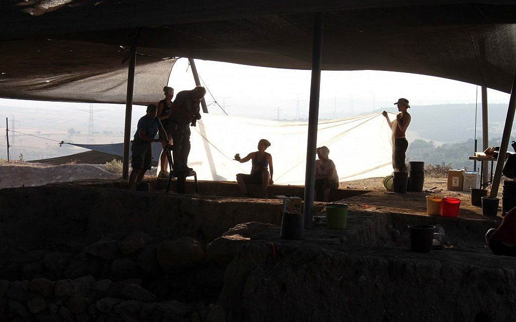 Workers at the ancient Philistine city of Gath, this month (photo credit: Courtesy of the Tel es-Safi/Gath excavation)