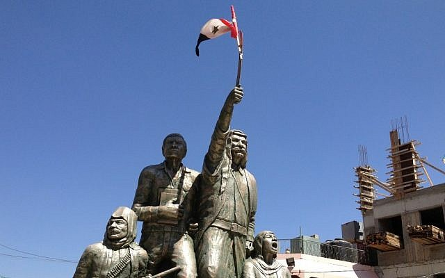 Statue in Majdal Shams commemorating the Druze uprising against French colonialism in the 1920s. In August 2012, a Syrian flag flew from the sword of Sultan Al-Atrash (Elhanan Miller/Times of Israel photo)