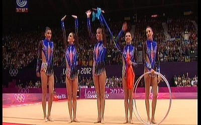 Israel's rhythmic gymnastics team performs on Sunday. (photo credit: Channel 1 screenshot)