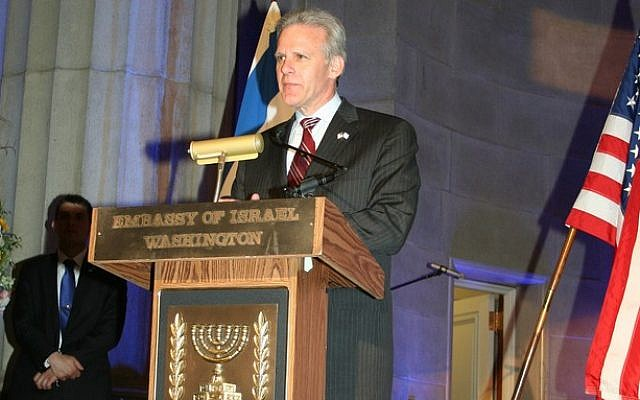 Michael Oren speaking at an embassy reception in Washington, when he was serving as Israel's ambassador to the US. (photo credit: CC-BY IsraelinUSA, Flickr)