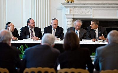 Barack Obama, far right, meeting with Jewish leaders in 2011. (photo credit: Official White House Photo/Pete Souza)