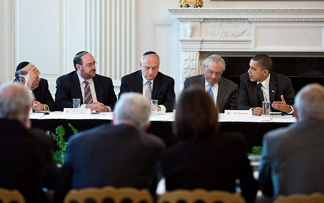 President Barack Obama, far right, meeting with Jewish leaders in 2011. (photo credit: Official White House Photo/Pete Souza)