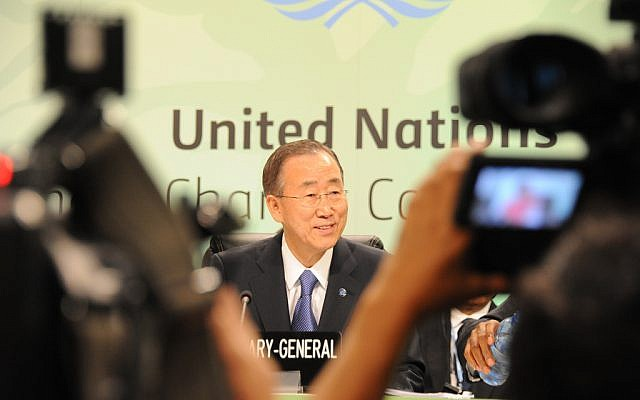 Ban Ki-moon speaking at a climate change conference last year. (photo credit:  CC-BY UNclimatechange, Flickr)