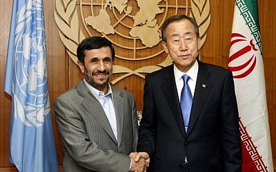 Iranian President Mahmoud Ahmadinejad, left, meets with UN Secretary-General Ban Ki-moon at United Nations headquarters in 2009. (photo credit: AP/Jason DeCrow)