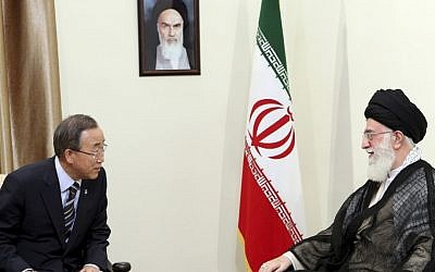Iran's Supreme Leader Ayatollah Ali Khamenei, right, speaks with UN Secretary-General Ban Ki-moon during the latter's trip to the Islamic Republic in August (photo credit: AP/Office of the Iranian Supreme Leader)