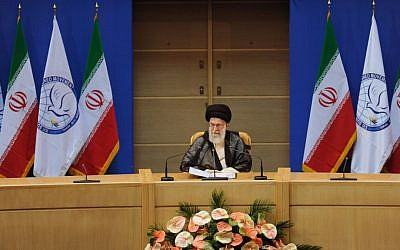 Ali Khamenei speaking to the NAM summit in Tehran in August (photo credit: AP/Office of the Supreme Leader)