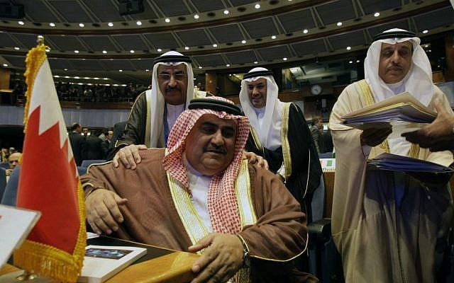 Bahraini Foreign Minister Sheik Khalid bin Ahmed Al Khalifa, seated, at a Non-Aligned Movement ministers meeting in Tehran, August 2012 (photo credit: AP/Vahid Salemi)