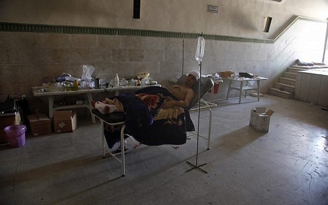 A makeshift field hospital in Aleppo, Syria (photo credit: AP)